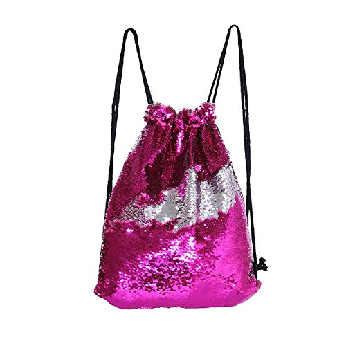 Xy Litol Gym Sackpack Bag for Girls Boys, Sequins Mermaid Magical Color Changing Portable Glitter Drawstring Sport Bag Rose Silver ()