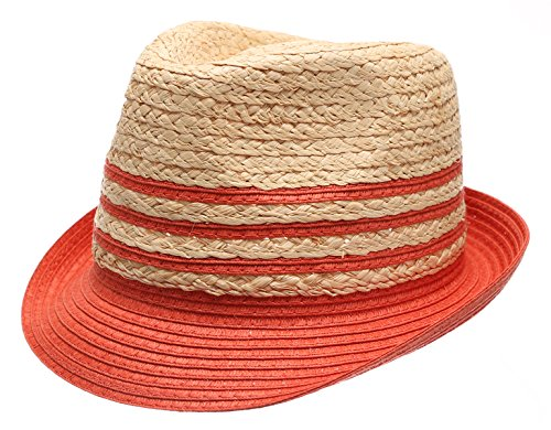 Summer Trilby Short Brim Sun Straw Fedora Hat Cap with Color Striped.(Coral)