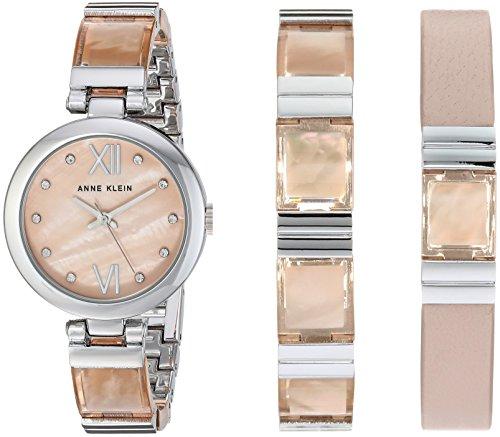 Pink Silver Tone Watch - Anne Klein Women's AK/2749LPST Silver-Tone and Blush Pink Translucent Watch and Bracelet Set