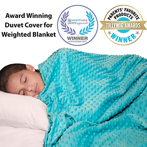 "Double Sided Weighted Blanket Cover - 48""x 72"" Soft Minky Plush and Cooling Bamboo Weighted Blanket Cover - Removable and Washable Blankets Duvet Cover for Hot and Cold Nights"
