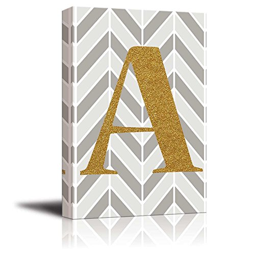 The Letter A in Gold Leaf Effect on Geometric Background Hip Young Art Decor