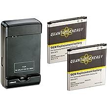 2x Baterías QUANTUM ENERGY para Samsung Galaxy S4, 2,600 mAh Baterías Li-Ion + Cargador de Pared con Puerto USB para el Galaxy S4 I9500, I9505 LTE, I545, M919, I337, L720, 24 MESES DE GARANTÍA