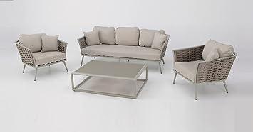 Set sofas terraza aluminio cuerda Beige MEDAS: Amazon.es ...