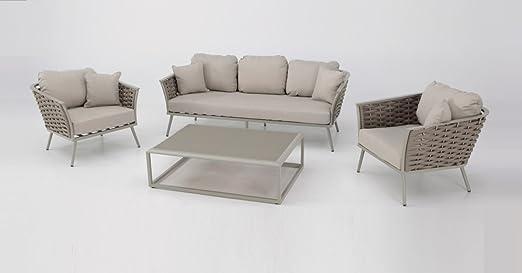 Set sofas terraza aluminio cuerda Beige MEDAS: Amazon.es: Jardín