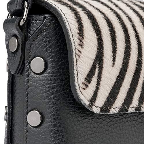 In Zebra Made A E Del Ira Piccola Mano avorio Nero Hollywood Borchie Borsetta Pochette Ragazza Valle Con Modello Pelle Clutch Moda Italy Borsa Elegante Tracolla Donna Spalla FCnZ1qn4