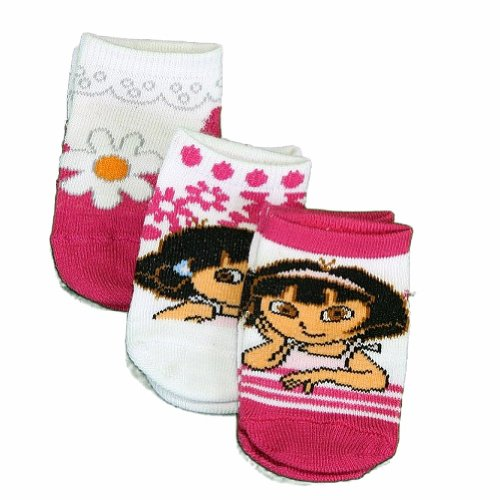 Dora the Explorer Girls 3 pack Safety Toes Socks 0-12 Months (Infant/Baby)