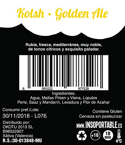 Insoportable - Cerveza Artesanal - Capitulo 3: La rubia - Kolsh Golden Ale. Botelllin 33 cl