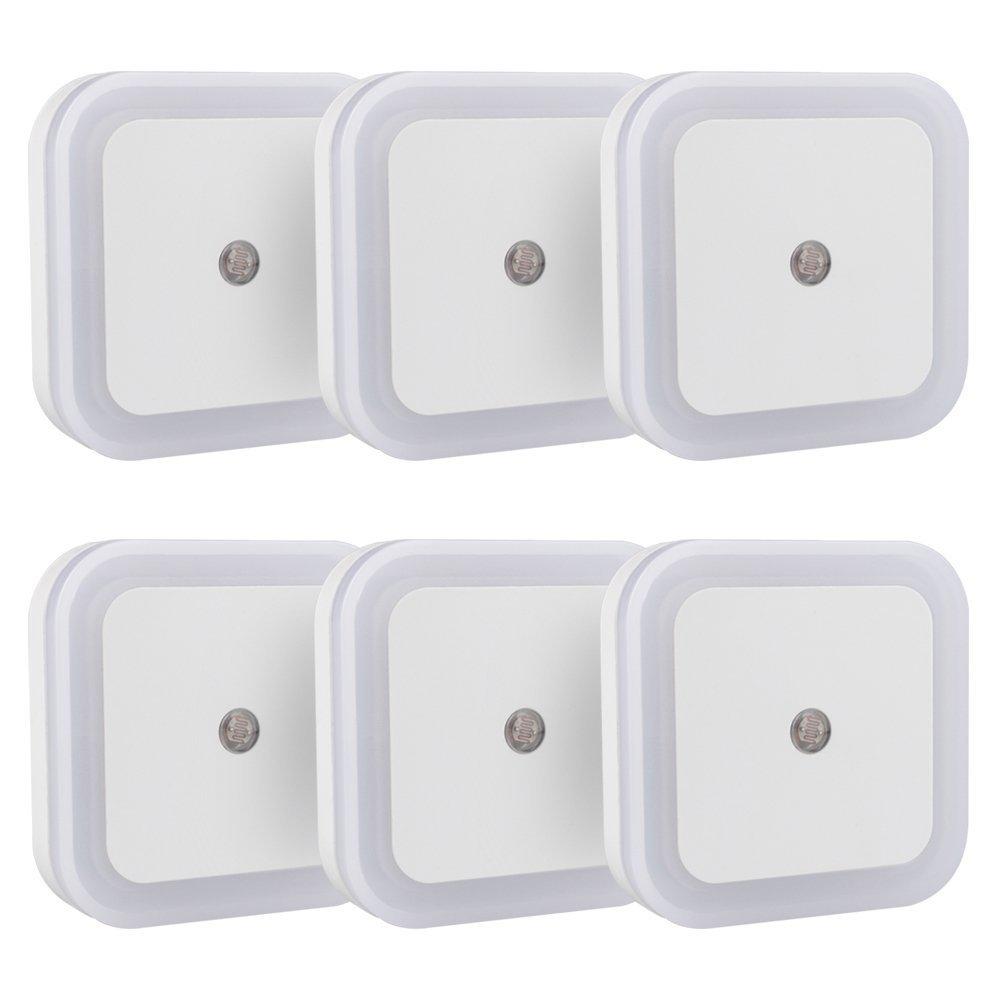 IEKA Plug-in LED Night Light,Smart Sensor Automatic Dusk to Dawn Light Warm White Glow Soft Brightness Perfect for Bedroom, Nursery and Baby's Room (6 Packs)
