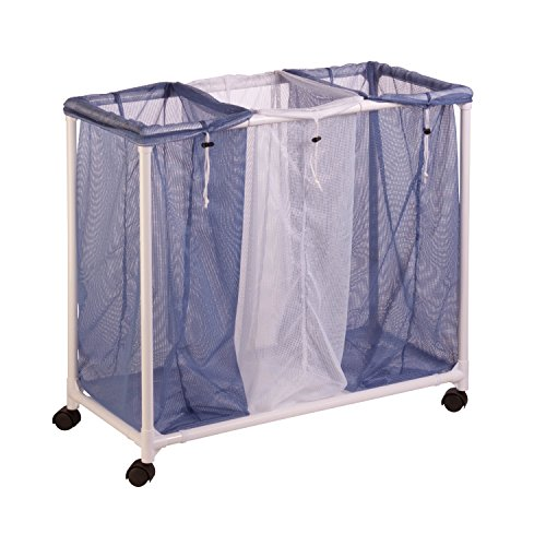 Honey-Can-Do HMP-01629 3 Bag mesh Laundry sorter, Blue/White (Laundry Sorter With Mesh Bags)