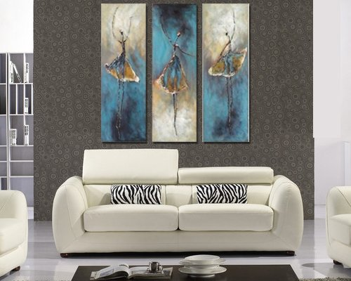 Sangu 100% Hand Painted Wood Framed 3-piece Hot Sale Beautiful Ballet Dance For Abstract Oil Paintings Gift Canvas Wall Art Paintings For Living Room.