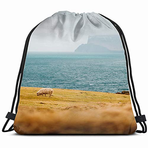 Sheep Herding On Kalsoy Island Spotted Animals Wildlife Faroe Nature Drawstring Backpack Gym Dance Bags For Girls Kids Bag Shoulder Travel Bags Birthday Gift For Daughter Children Women