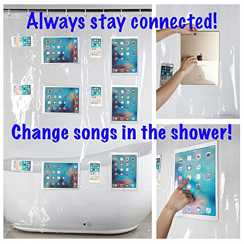 Clear Shower Curtain Liner with Pockets for iPad/iPhone/Baby Monitor - Enjoy Netflix, YouTube, Music, Games, Podcasts! 72x72 Universal Size (TOUCH-SENSITIVE and WATERPROOF!)
