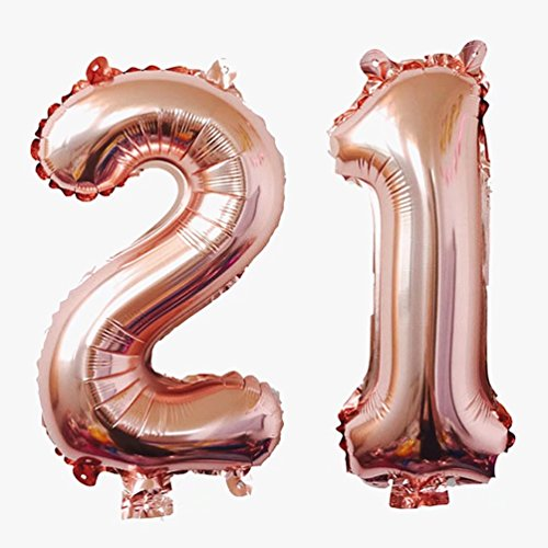 KEYYOOMY Jumbo Number 21 Mylar Balloons Rose Gold 21th Big Foil Number Balloon for 21 Birthday Party Anniversary Celebrate Parties Decoration (40 inch, Rose Gold Color) -