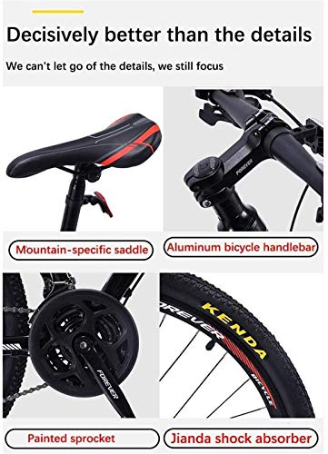 HCMNME Durable Bicycle, Authentic 2019 anticarbon Inner line Mountain Bike, Adult Men's Bicycle Competitive Bicycle, Light Road Double Shock disc Brakes Variable Speed Mountain Bike Outdoor SPOR