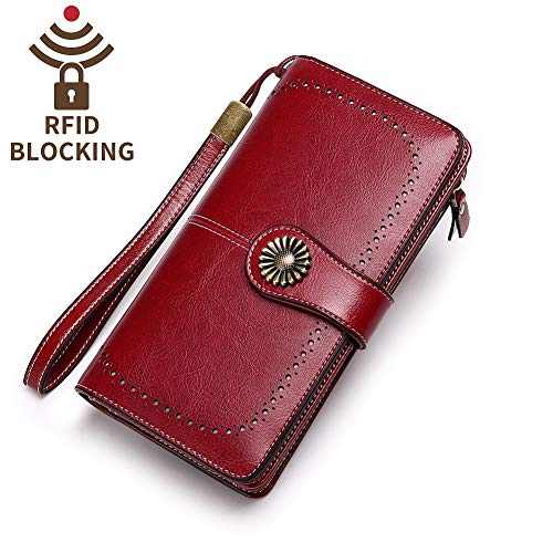 Strap Rfid Capacity Blocking Wallets 24 Leather Cc Lady Womens Elegant Wine Clutch With Red Long Trifold Large Slots Purse Wristlet 7xTwY7RA