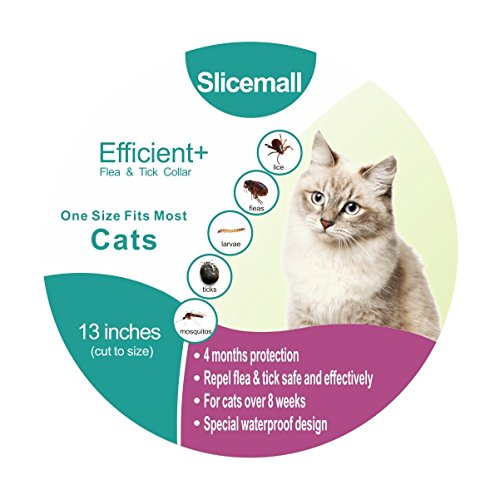 Slicemall Flea Tick Collar, cats flea treatment small medium large dogs tick repellent protection pets prevention control (13 inches Cats)