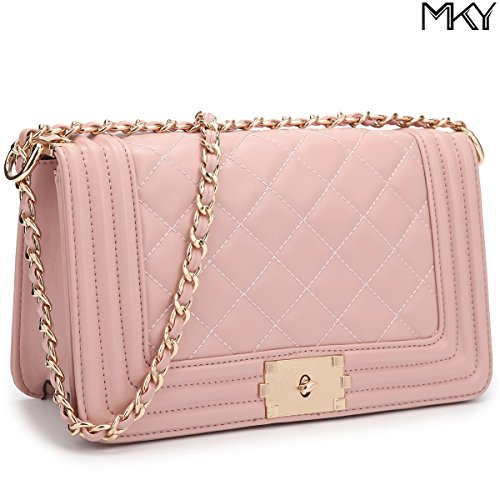MKY Leather Quilted Flap Crossbody Bag Clutch Purse Chain Shoulder Bag Travel Purse Pink