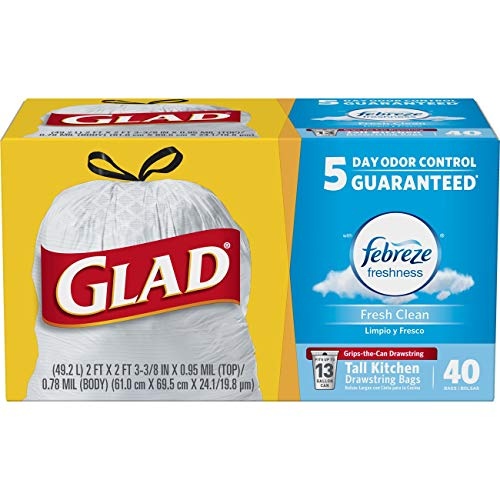 Glad OdorShield Tall Kitchen Drawstring Trash Bags, Fresh Clean, 13 Gallon, 40 Count (Packaging May Vary)
