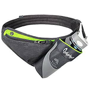 CyberDyer Running Belt Waist Pack with Water Bottle Holder for Men Women Waist Pouch Fanny Bag Reflective Fits iPhone 6/7 Plus (Green)