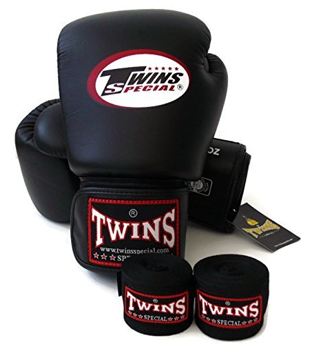 Twins Special - Boxing Gloves. BGVL3, Color:Black Red Green Orange White Blue, Size: 10 12 14 16 oz. Training/Sparring Gloves for Muay Thai, Kick boxing, MMA (black, 16 oz)