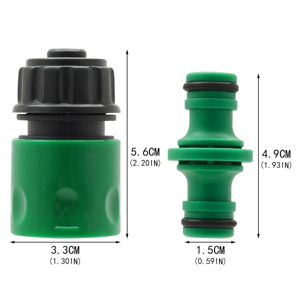 and 3//4 Inch 4 Double Male Connector,8 Hose 1//2 End Quick Connect, 4 Hose Tap Connector 1//2 Inch 21mm Size 2-in-1 26.5mm YJShop 16 Pack Plastic Garden Hose Pipe Quick Connector Kits