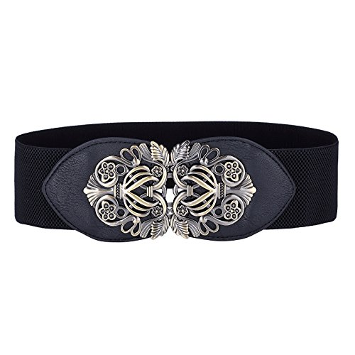 Ladies Black Belts for Dresses Elastic Waistband Size XL CL0414-1