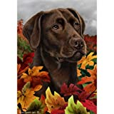 Best of Breed Fall Leaves Full Size Flag Chocolate Labrador Retriever For Sale
