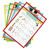 Dry Erase Pockets ,Set of 10 Reusable Dry Erase Pockets With Marker Holder,9 x 12 Inches