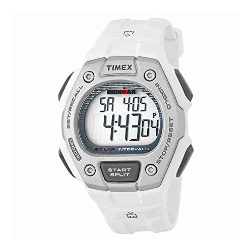 - Timex Mens TW5K88100 Ironman Classic Mid Size 30 Lap White Resin Strap Watch