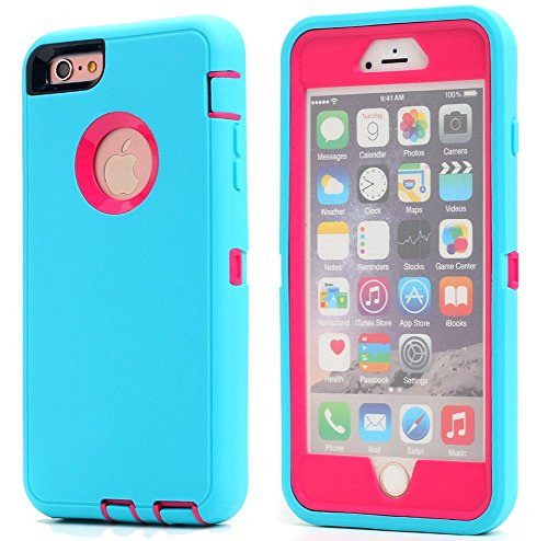 Ai-case Built-in Screen Protector Tough 4 in1 Rugged Shorkproof Cover With Kickstand for iPhone 6/6S Plus, Blue/rose