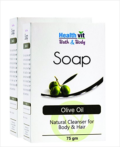 Healthvit Bath and Body Olive Oil Soap, 75g (Natural Cleanser for Body and Hair) (Pack of 2)