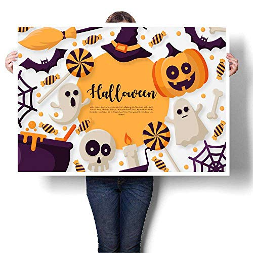 Wall Art Oil PaintingS Happy Halloween Background with pumpkins ghosts candy witch broom bats cobwebs skulls bones headstones witch hats Flat icon Decorative Fine Art canvas Print Poster K 36
