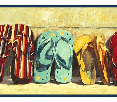Flip Flop Border - Blonder SB10297B Flip Flops Wallpaper Border,Navy