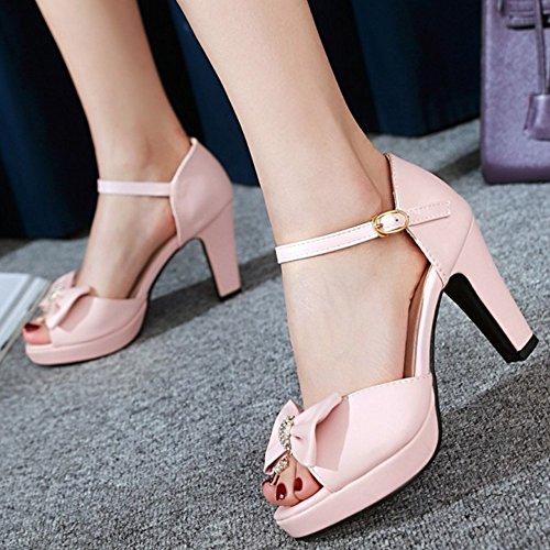 TAOFFEN Mujer Peep Toe Sandalias Moda Tacon Ancho Tacon Alto Zapatos De Hebilla De Bowknot Rosado