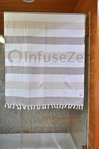 InfuseZen Large Turkish Towel with Soft Terryback, Striped Peshtemal Terry Back Turkish Bath Towel, Gym & Beach Towel, Thin Oversized Hammam Towel, Plus Size Fouta, Big Bath Sheet (Brown & Beige)