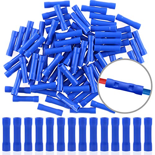 Insulated Butt Splice - Hilitchi 100pcs 16-14 Gauge Butt Insulated Splice Terminals Electrical Wire Crimp Connectors (Blue / 16-14AWG)