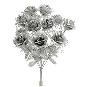 Admired By Nature GPB293G-Silver 12 Stems Artificial Satin Rose Flowers Bush, Silver 34