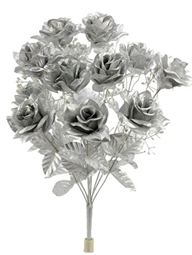 (Admired By Nature GPB293G-Silver 12 Stems Artificial Satin Rose Flowers Bush, Silver)