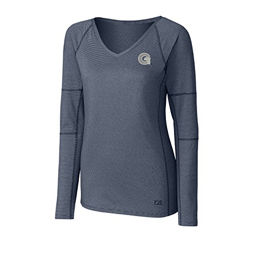 Cutter & Buck NCAA Georgetown Hoyas Adult Women Long Sleeve Victory V-Neck, 3X-Large, Liberty Navy