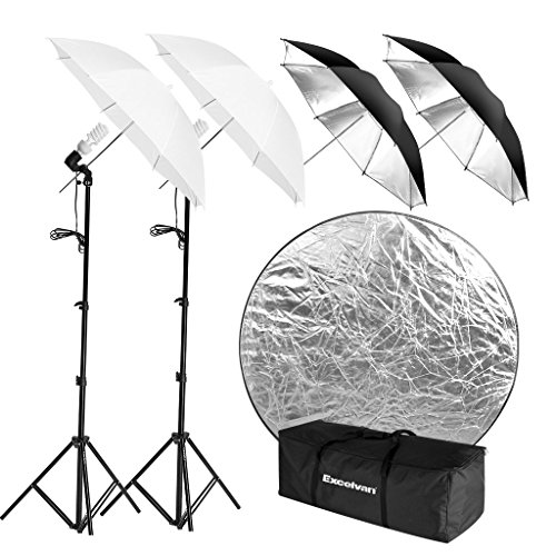 Excelvan Photo Studio Lighting Kit with 2 x 33 Soft Umbrella and Black/Silver Reflector, 2 x 45W 5500K Continuous Light Bulbs, E27 Light Holding Socket, 2 x 80 Light Stand with Portable Carrying Bag by Excelvan