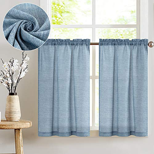 jinchan Tier Curtains Linen Textured 24 Inches Long Curtains for Kitchen Small Cafe Curtains for Window Treatment Set 2 Panels Blue