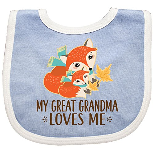 (Inktastic - My Great Grandma Loves Me Fox Baby Bib Blue/White 2dc0d)