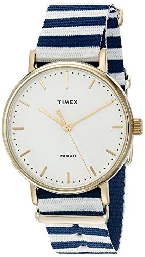 Timex Women's TW2P91900 Fairfield 37 Blue/White Nylon Slip-Thru Strap Watch