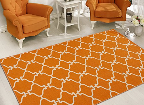 Sweet Home Stores Clifton Collection Moroccan Trellis Design  Area Rug, Orange