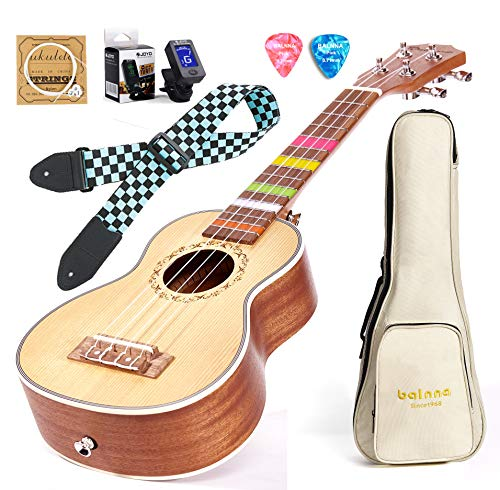 Balnna 21 Professional Ukulele Maple Traditional Learn to Play,Color String with Soft Case Gig Bag (Soprano, Hawaiian Spruce)