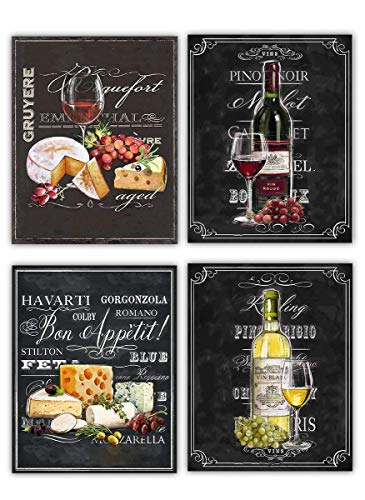 "Wine & Cheese Varieties Chalkboard Replica Prints Set (4)- 8 x 10""s Wall Art Prints-Ready to Frame. Home Décor, Wine Decor & Dining Wall Decor. Perfect For Wine Lovers & Upscale Bars. Classy Addition!"