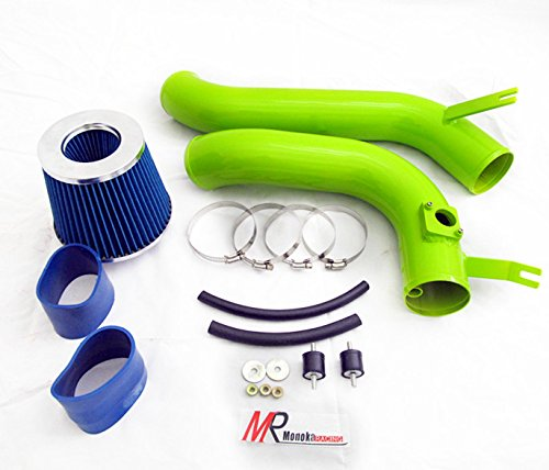 Honda Blue Intake System - 08 09 10 11 12 Honda Accord 2.4L L4 GREEN Piping Cold Air Intake System Kit with Blue Filter