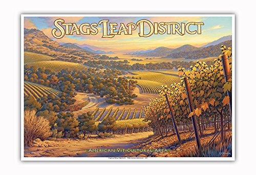 - Pacifica Island Art - Stags Leap District Wineries - Shafer Vineyards - North Coast AVA Vineyards - California Wine Country Art by Kerne Erickson - Master Art Print - 13in x 19in
