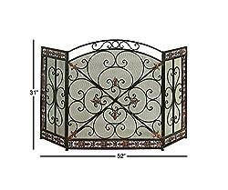 Benzara Traditional Design 3-Panel Metal Fire Screen, Bronze from Benzara