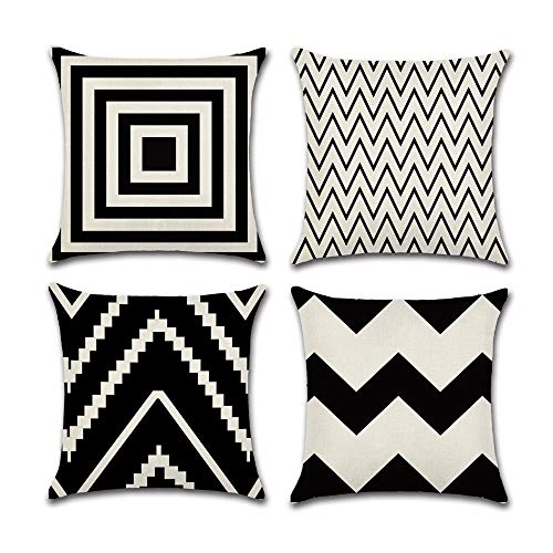 (INSHERE Farmhouse 4 Pack Simple Black and White Geometric Wave Throw Pillow Covers Cases for Couch Sofa Bed Home Decor, Square Cotton Linen Cushion Cover 18 X 18 Inches)